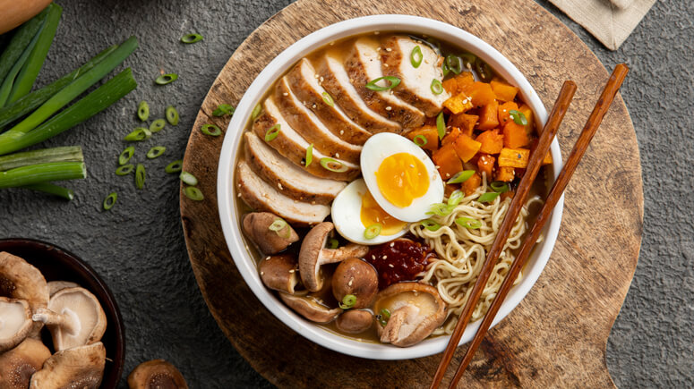 Roasted Chicken and Winter Squash Ramen Bowl