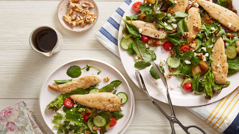 Fig and Goat Cheese Salad with Roasted Chicken Tenders
