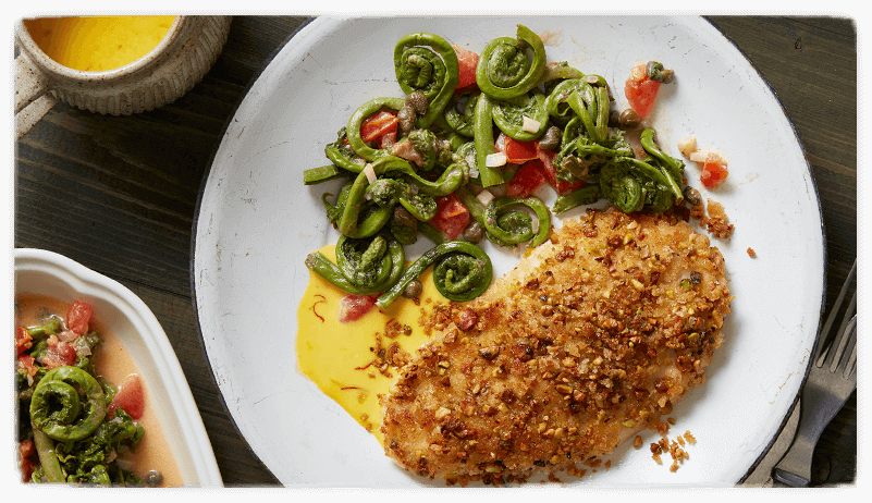 Pistachio Crusted Chicken Breast with Fiddle Head Fern Relish